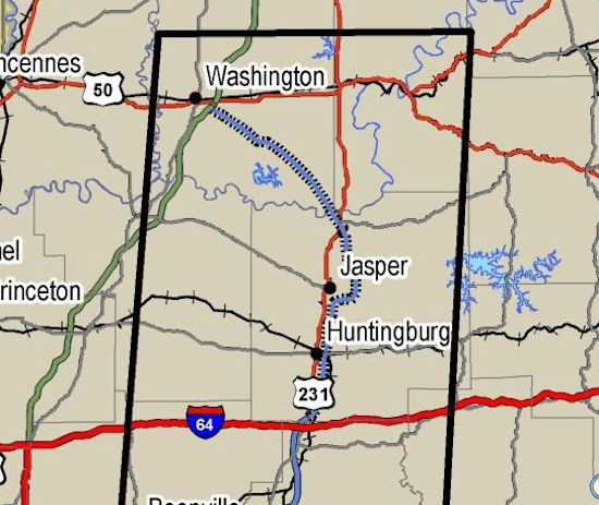 Proposed route of I-67 through Dubois County to Washington and I-69.