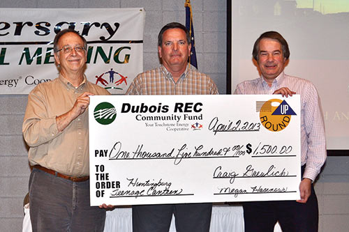 Huntingburg Teenage Canteen, INC: Don Foerster, Operation Round Up Trustee Neal Belcher and Ralph Begle.