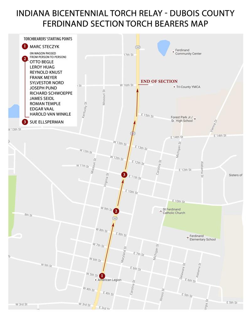 Bicentennial Torch Travels Through Dubois County Wednesday