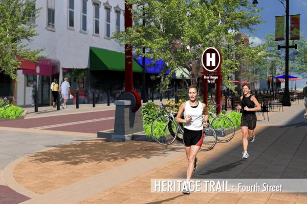 Artists rendering of Fourth Street Heritage Trail and streetscape project.