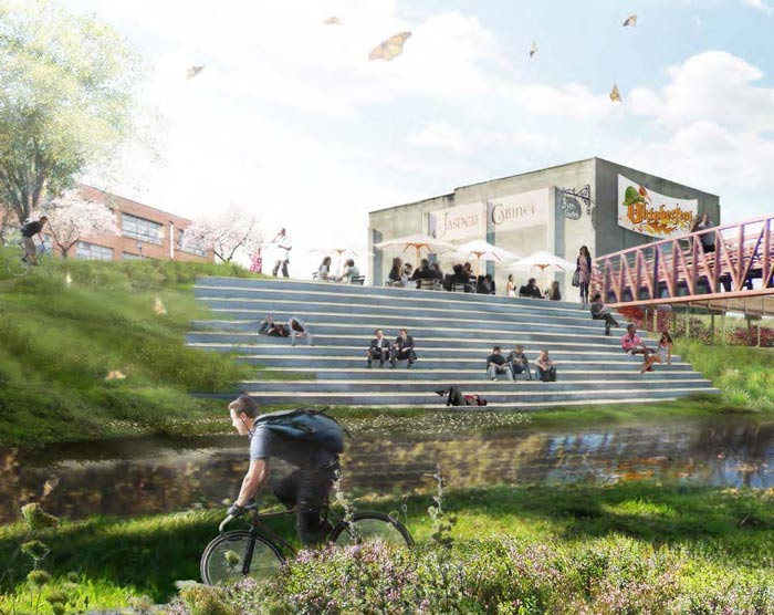 A rendition of the river steps included in the Jasper Downtown + Riverfront Master Plan.