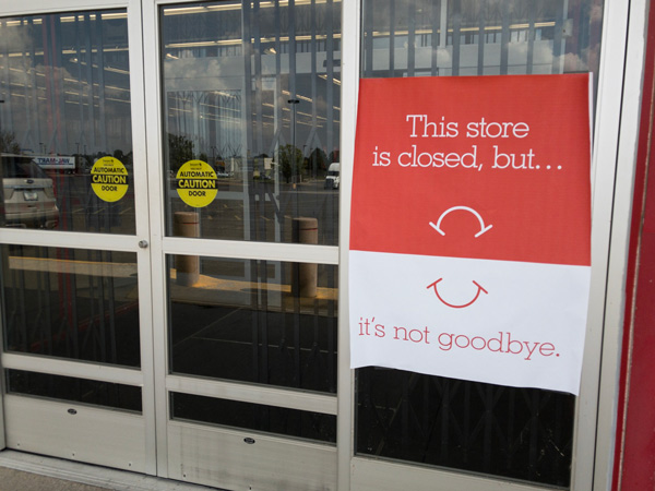 A sign seems to indicate a brighter future for Staples as the national chain closes physical locations across the country.