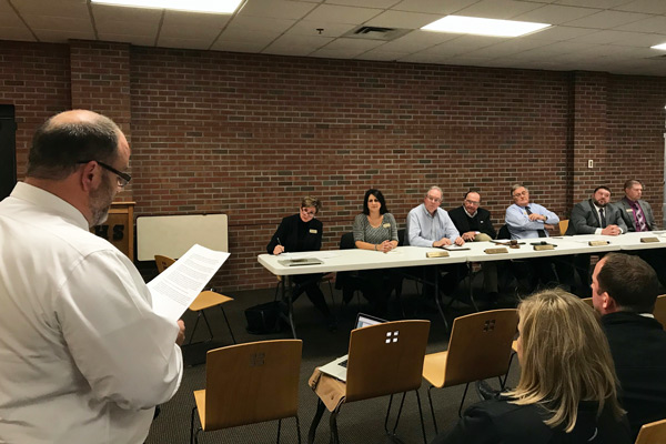 Greg Schnarr read a prepared statement to the Jasper School Board Tuesday night at a special meeting held to reconsider the naming of the new elementary school.