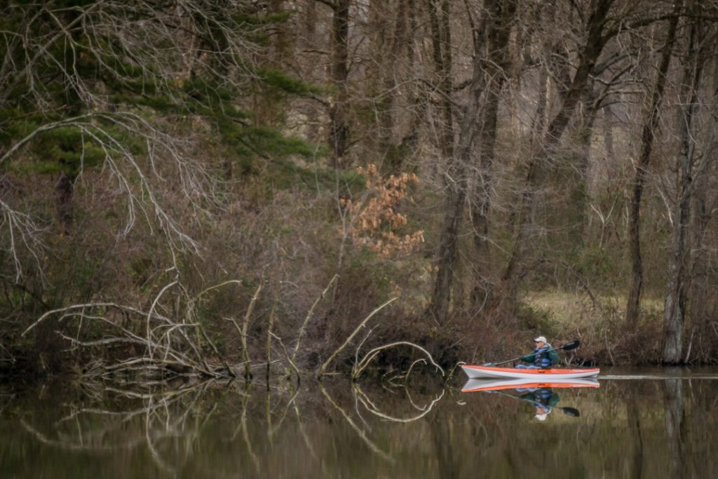 Ron Sergesketter can commonly be found kayaking on the multitude of Southern Indiana waterways, lakes and reservoirs.