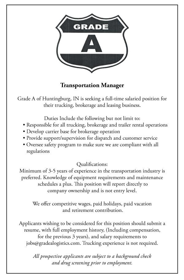 Grade A Seeking Transportation Manager Dubois County Free