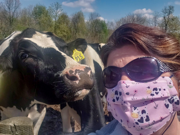 Sam Schwoeppe is a fourth generation dairy farmer who's town job involves connecting America's dairy processors with a national chain of food banks. She's pretty busy right now.